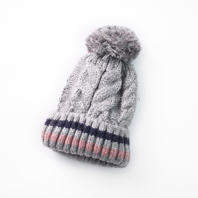 Ladies autumn and winter striped wool hat thickening plus velvet ball head cap outdoor linen pattern knit hat