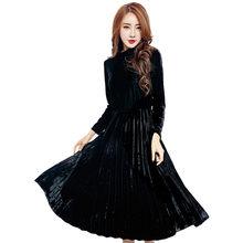 Элегантное темпераментное Плиссированное тонкое Золотое бархатное платье на осень и зиму Новая женская элегантная темпераментная плиссир...(Китай)
