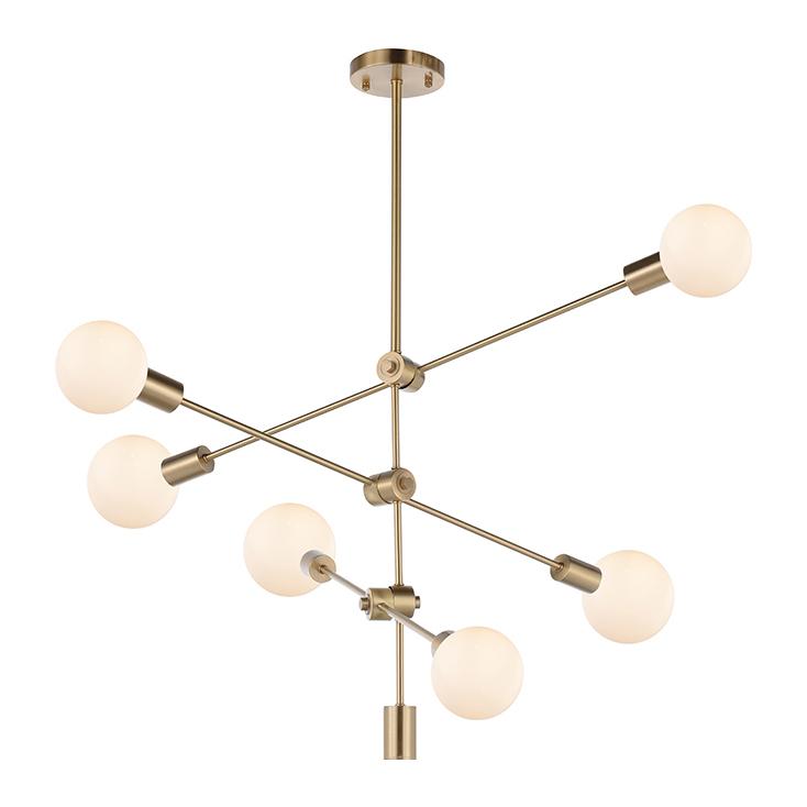 Nordic Simple Design Industrial Spiral Ball Bulb Brass Modern Indoor Decorative Copper Pendant Light