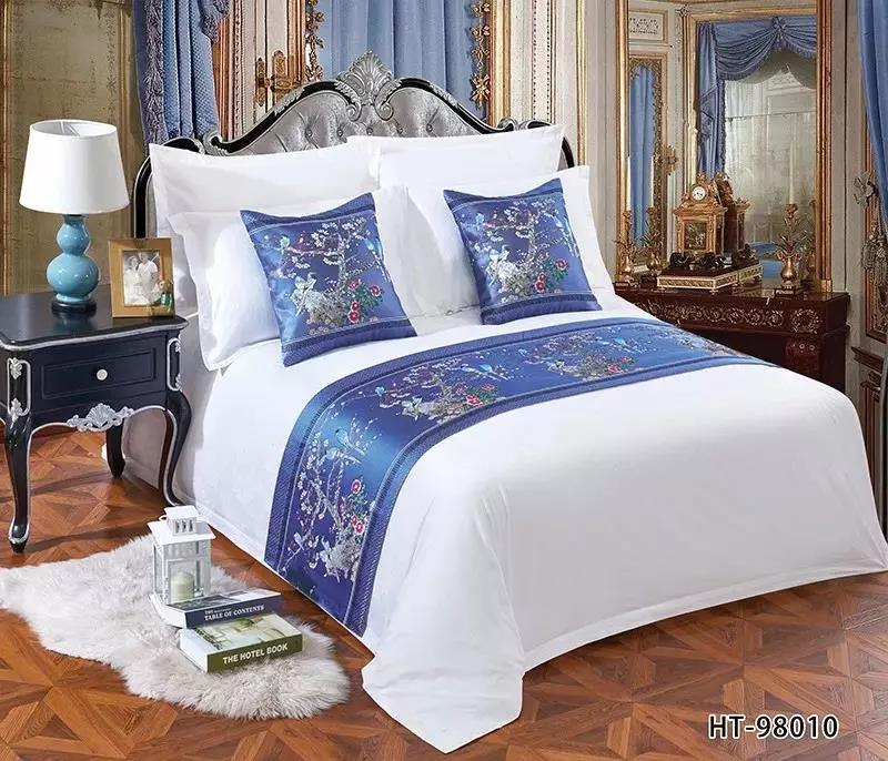 C21 European Cotton Embroidery Hotel Bedding Decorative linen Sofa Bed Runner and Cushion Cover