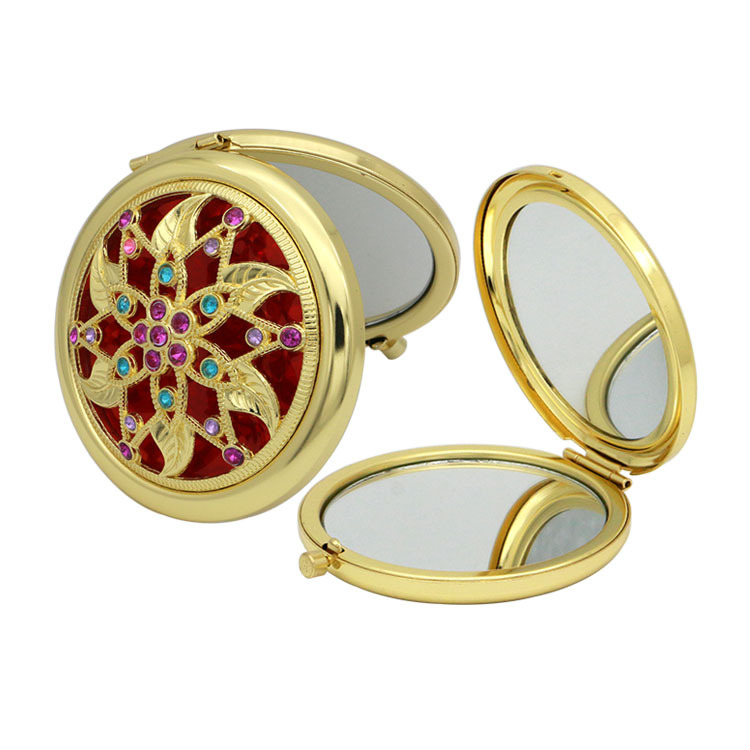 Indian Style Hand Mirrors Pocket Mini Portable Compact Mirrors Double-Side Folded Makeup Mirror