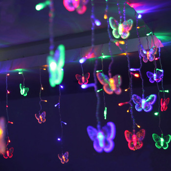 16 LED Butterfly Strings Curtain Light 8 Mode Fairy Light Strip Party Room Garden Wedding Christmas Xmas Decorations