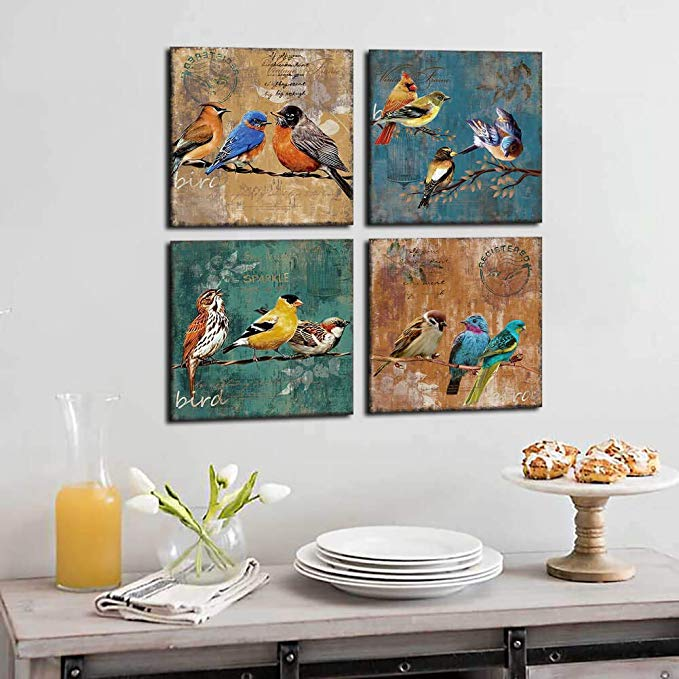 Popular Sparrow Painting 3D  Animal Custom Canvas Print Wall Decor Oil Paintings Canvas Wall Art Picture