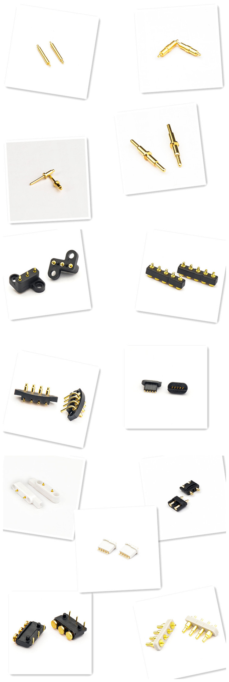 Spring Loaded Magnetic Pogo Pin 6 Pins 2.3 mm Pitch Vertical Single Row Through Holes Solder Male Female Probe Contact