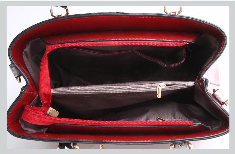 Snake pattern shoulder leather hand bag set handbag and purse set