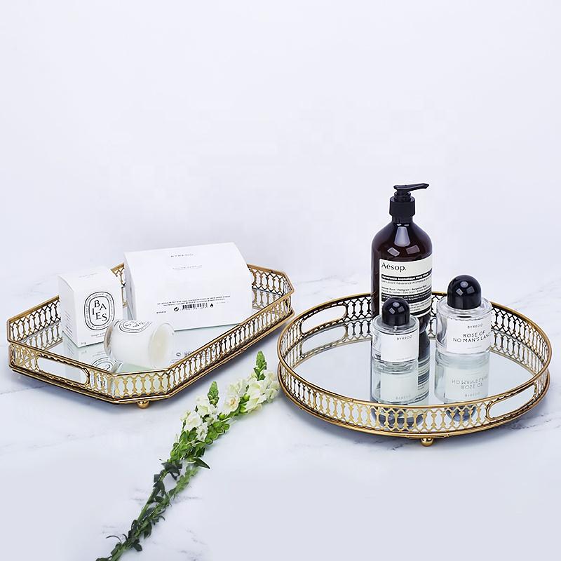 Altın metal bakır ayna servis tepsisi ev dekorasyonu mum kozmetik lüks dekoratif cam takı makyaj servis tepsisi parfüm