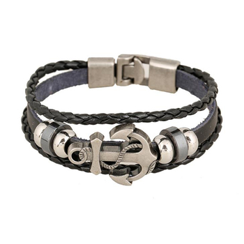Braid Rope Nautical Men'S Viking Bracelet Jewelry With Anchor Charm
