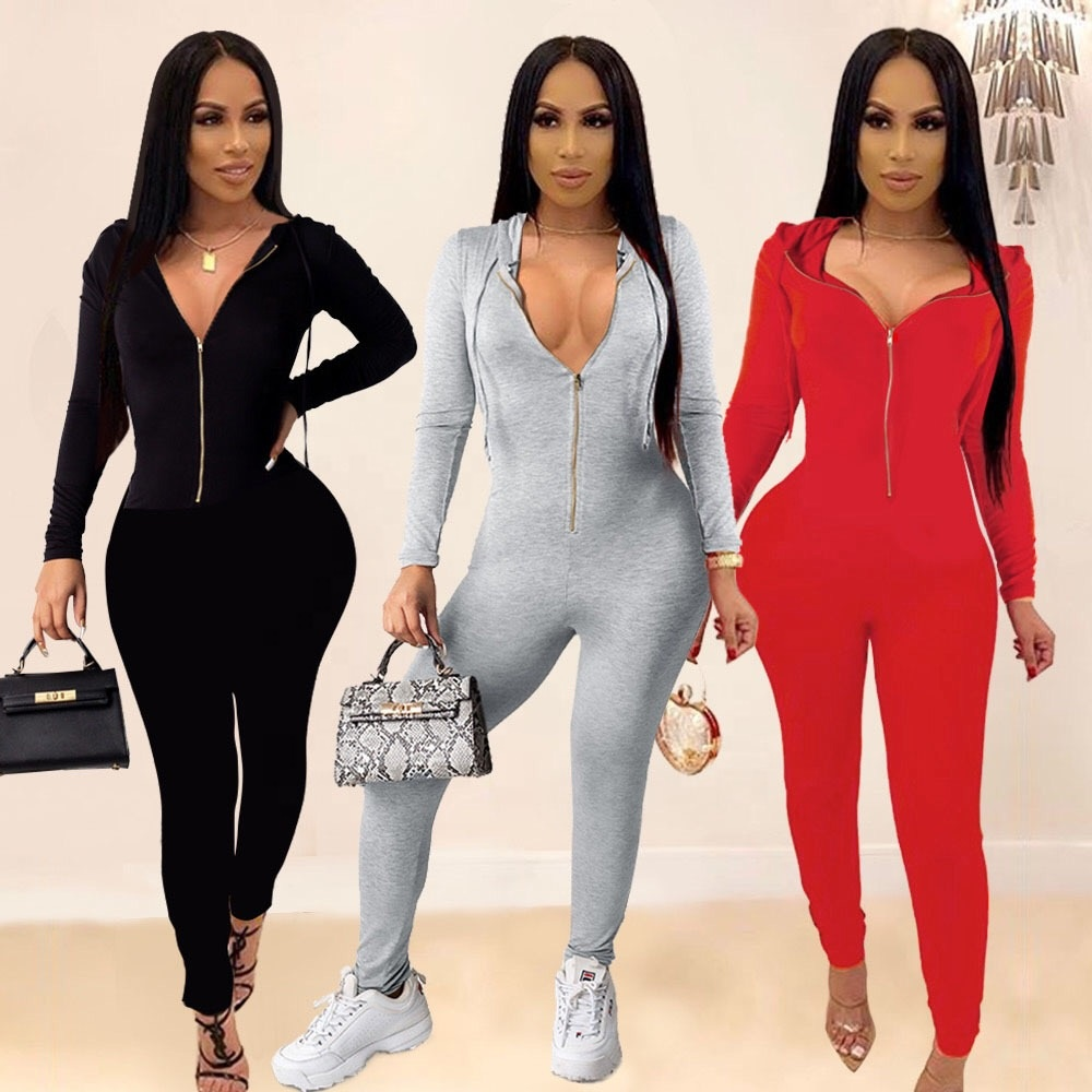 2020 New Arrival Hoodie Rompers with Front <strong>Zip</strong> Women One Piece Long Jumpsuits