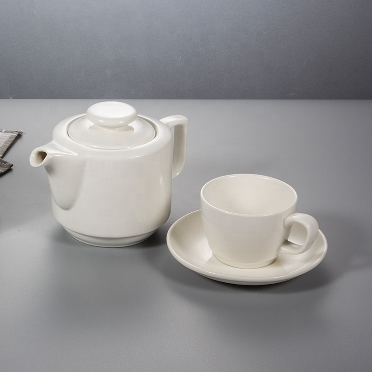 wholesale white large capacity crockery restaurant simple shape porcelain tableware ceramic tea coffee pot