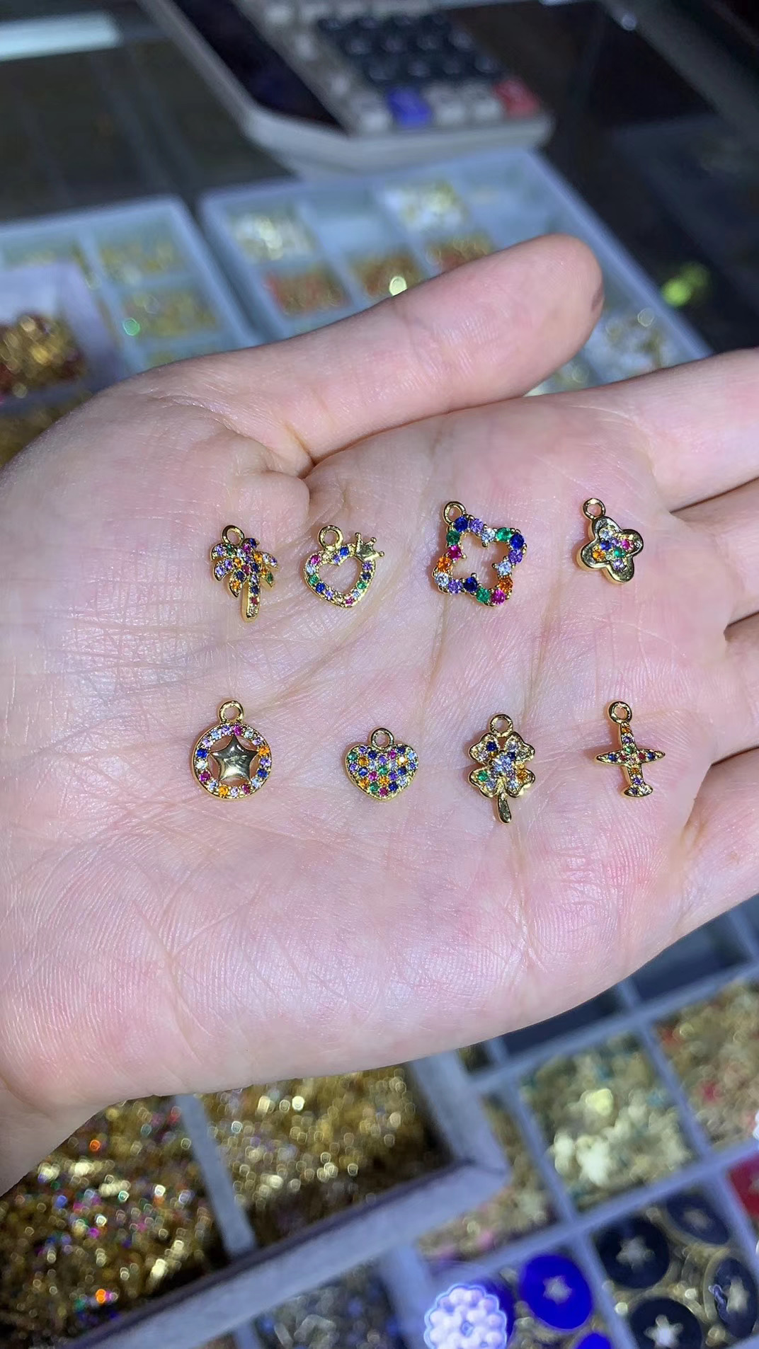 Wholesale Rainbow Small Zircon Boy and Girl Pendant Necklace Fit Making DIY Freedom Jewelry Gifts For Girls