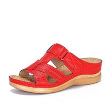 MCCKLE/женские летние шлепанцы; Женская Повседневная пляжная обувь на платформе с открытым носком на липучке; Женская обувь с вырезами(Китай)
