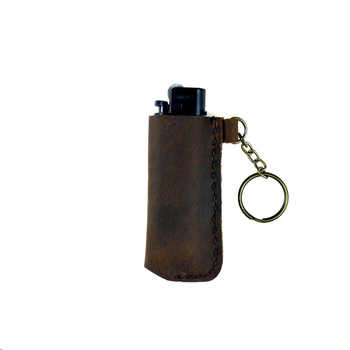 Hand Genuine Leather Lighter Case Keychain Protection Lighter Cover for Bic