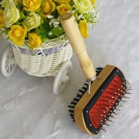 Dogs accessories in China dual sides wood handle pet cat animal poodle hair grooming combo brush