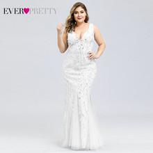 Платья для выпускного вечера размера плюс Ever Pretty EP07886, Русалка с двойным v-образным вырезом, блестками, тюль, Сексуальные вечерние платья, ...(Китай)