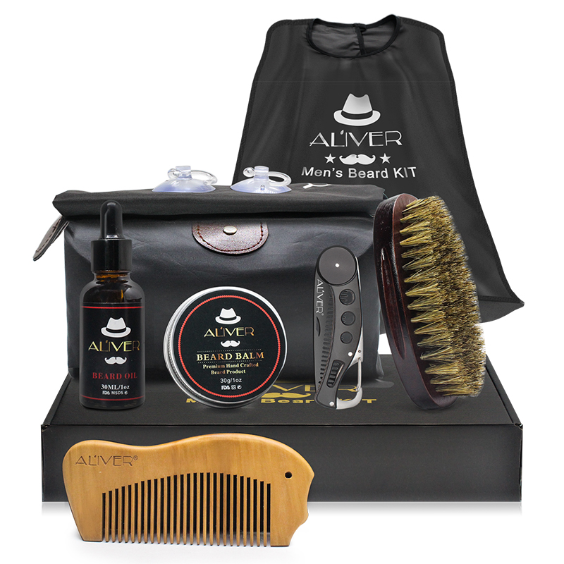 Beard Grooming Trimming Gift Set with Apron for Men Beard Care Kit Beard Oil Mustache Balm Brush Comb and Travel Bag, N/a