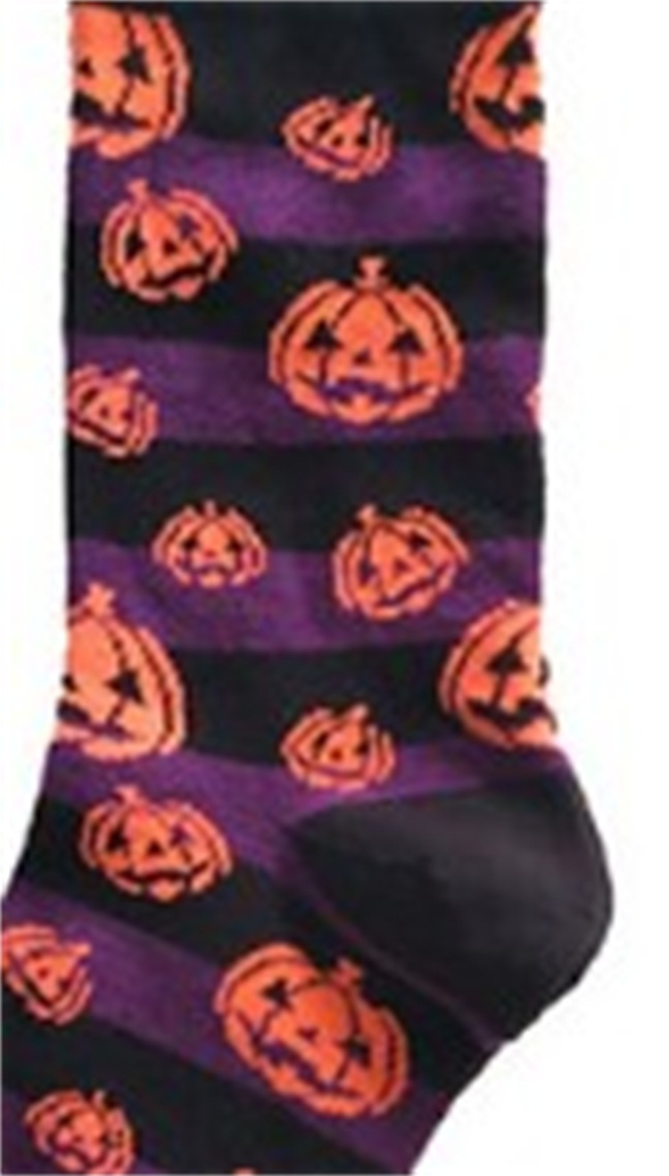 Bat Pumpkin Pattern Stockings Sweat Absorption Ventilation Halloween Cotton Socks