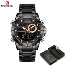 NAVIFORCE мужские военные спортивные наручные часы, золотые кварцевые Стальные водонепроницаемые часы с двойным дисплеем, мужские часы 9163(China)