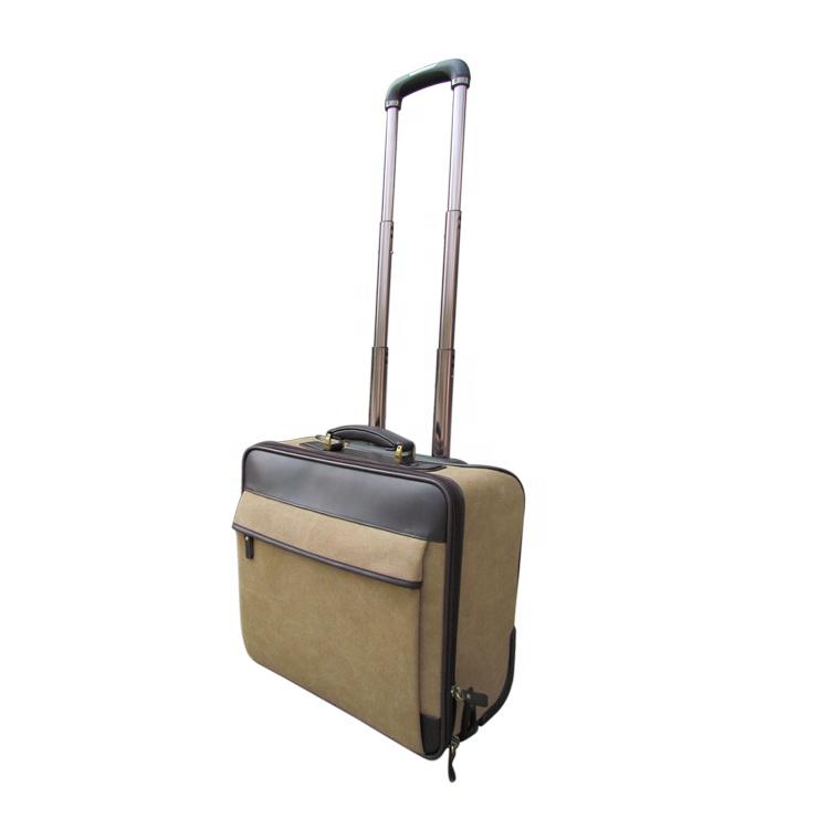 HIBO 2 wheels vintage men canvas leather travel trolley luggage bag