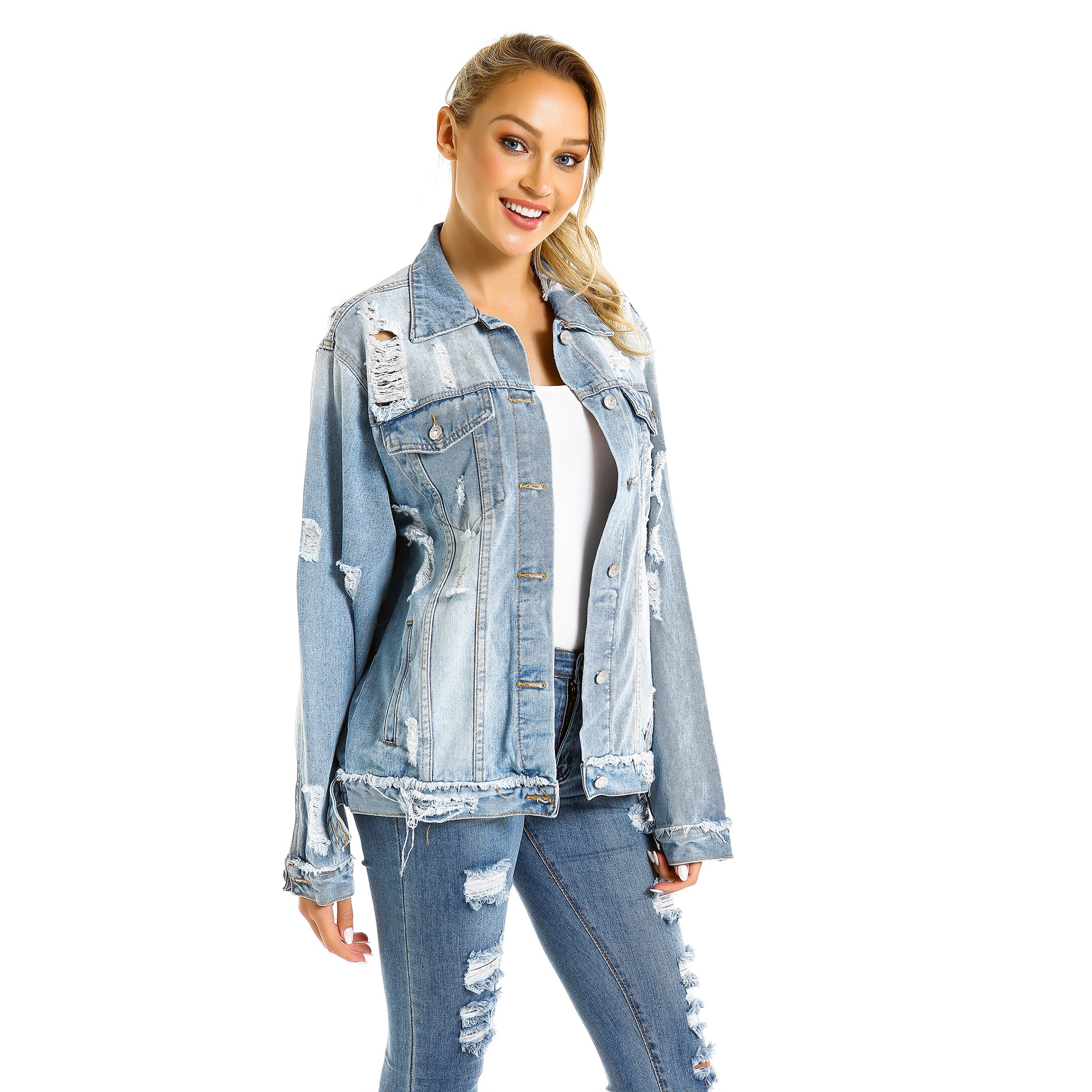 Woman Jean Jackets Fashion Style Distressed Ribbed <strong>Holes</strong> Loose Scratched Outwear Denim Bomber Jacket Coat