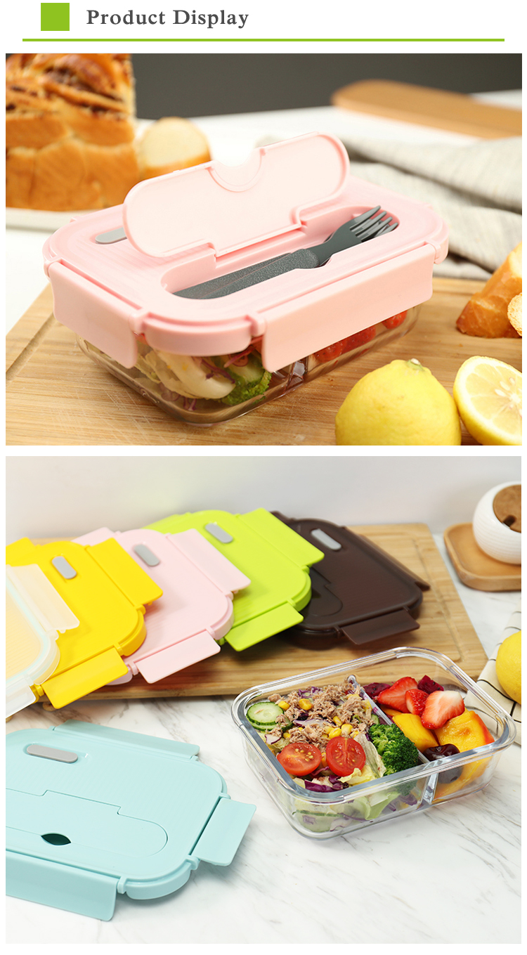 Glass food container lunch box with plastic BPA free vented lid glass lunchbox korean