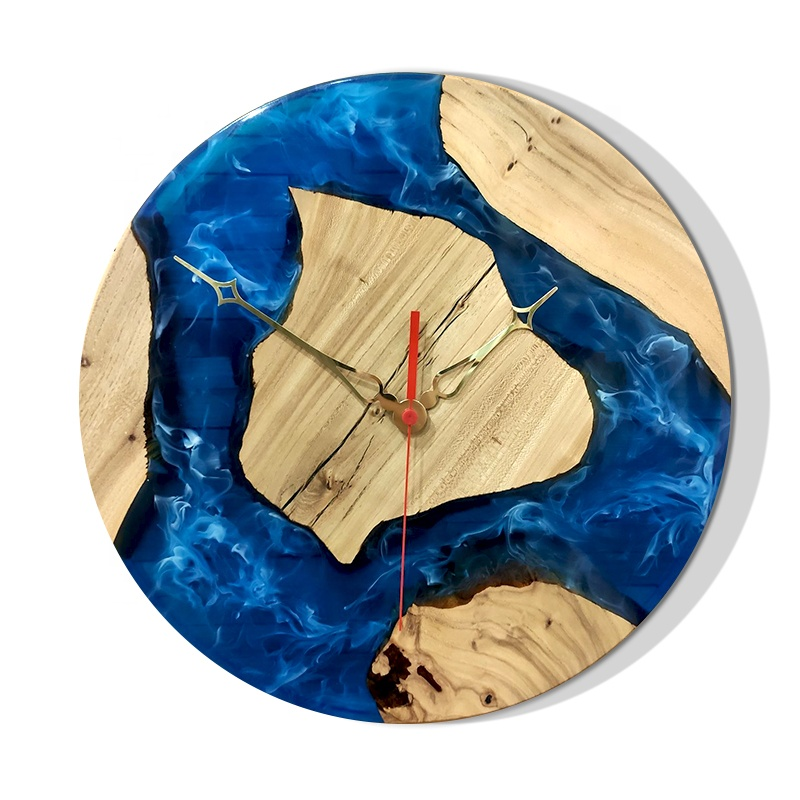 Blue Resin River Wood Wall Clock Natural Wall Clock made with resin and wood for minimalistic interiors