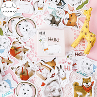 45pcs/box Cute Pet Sticker Lovely Cartoon Animals Plants Flowers Japanese Kawaii Scrapbooking Decorative Stationery Stickers
