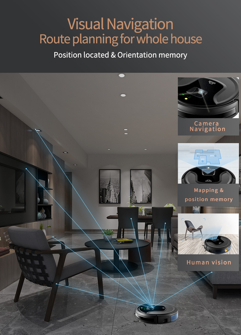 Visual Navigation mapping aspiradora Intelligent  Vacuum Cleaner With Auto Recharge Aspiradora Robot