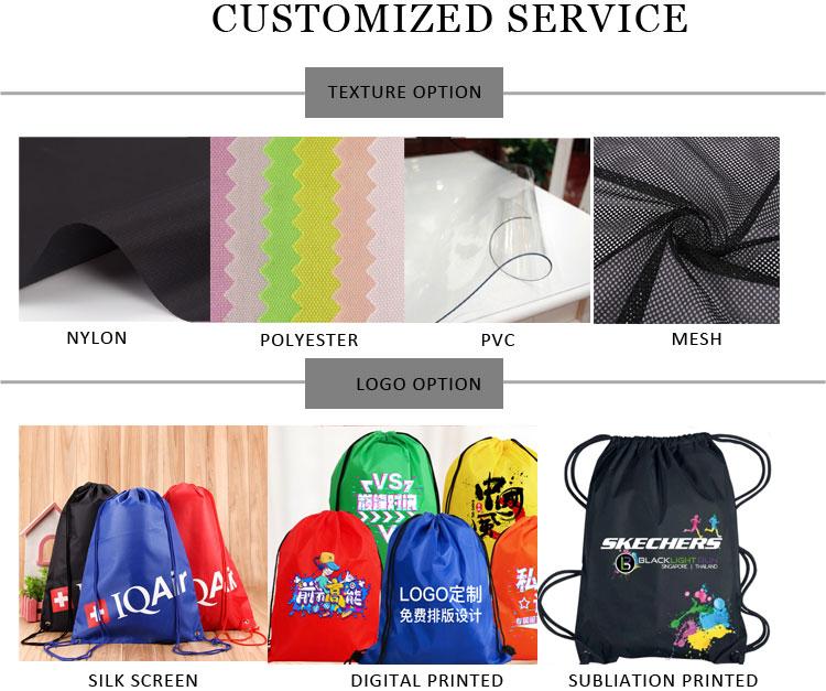 Custom Logo Drawstring Printed Polyester Gym Bags Training Gymsack Polyester Waterproof Drawstring Bag