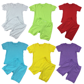 40 Colors Kids Plain Cotton Two Piece Outfits Baby Girls Summer Clothing Sets