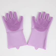 Dapur 1 Pasang 160G Magic Silikon Pencuci Piring Scrubber Dish Washing Sponge Rubber Gloves