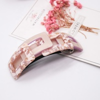 French resin cellulose acetate barrette for women rectangular multi-color mosaic ponytail barrette