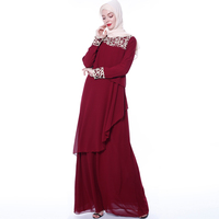 Modest fashion abaya design chiffon long sleeve islamic clothing muslim women dresses