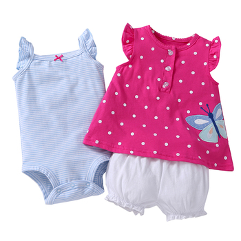 Fancy Floral Wholesale Toddler Clothing Baby Girl Newborn Romper Sets Baby Clothes Set