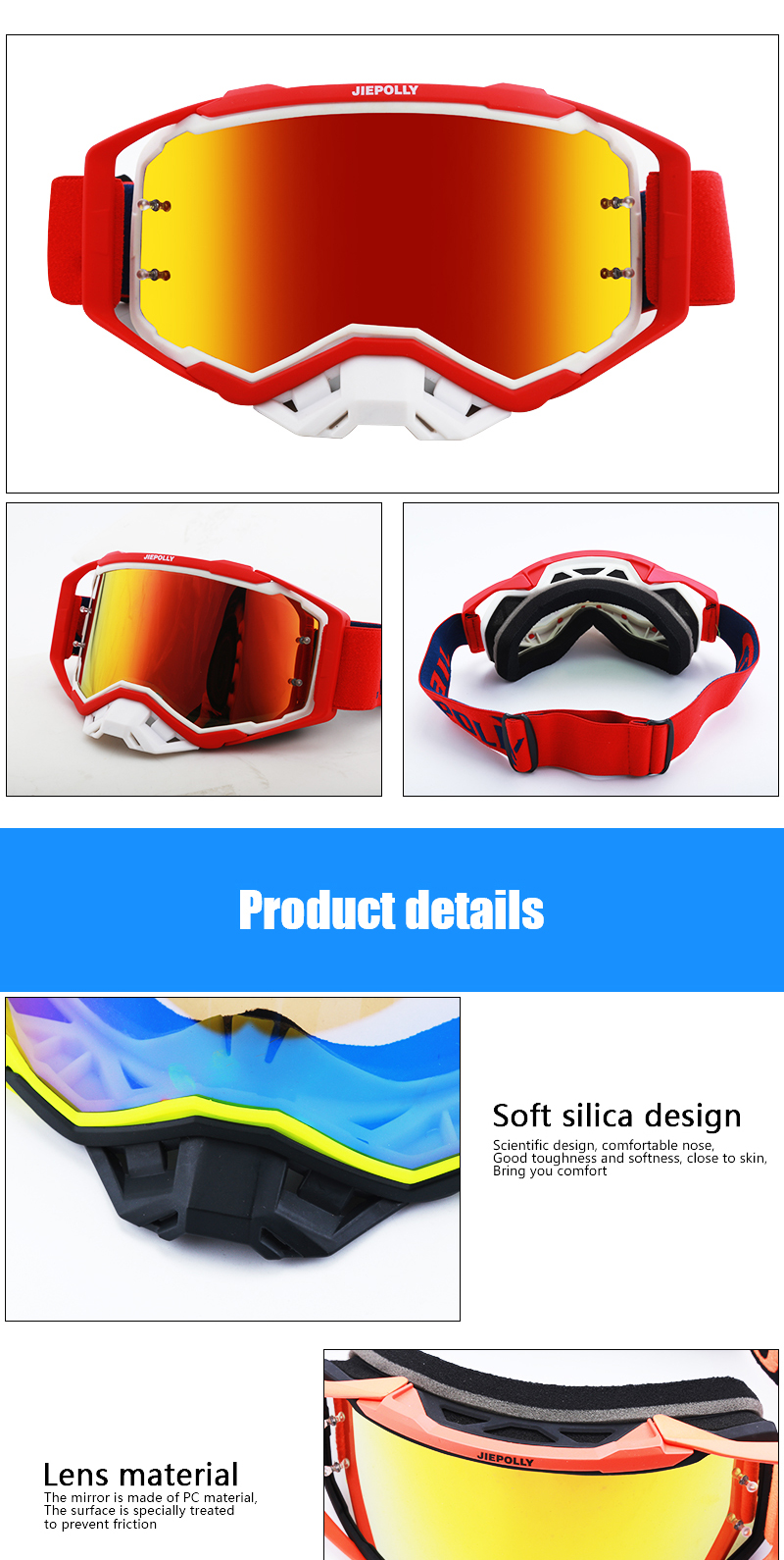 Top Verkoop Motorbike Goggles Motorcycle Sport Googles Custom Motocross Goggles