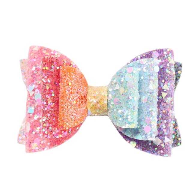 Creative Cute Kids Girls Christmas Hairpins Hair Clip Miult-Colorful Glitter Bow Headwear