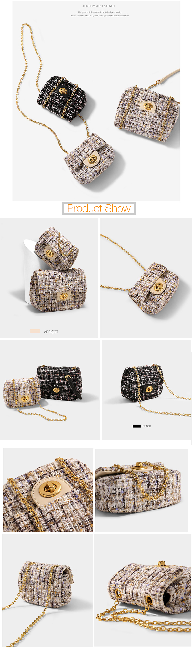 custom designer fashion europe ladies crossbody long chain mini tweed bag cute fabric handbag for women