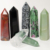Polished Red Green Aventurine Tower Ruby in Zoisite Obelisk Black Snowflake Obsidian Unakite Clear Quartz Wand Point