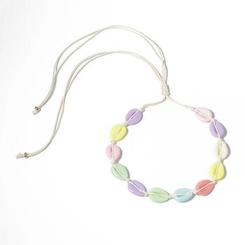 Adjustable Size Rope Chain 12pcs Colorful Imitation Shell Necklace Multicolor Shell Choker Necklace For Girls