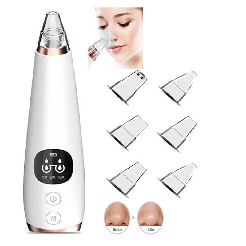 Blackhead Remover Pore Vacuum - Electric Blackhead Vacuum Pore Cleaner with 6 Replaceable Suction Heads