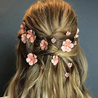 Daihe wedding Bride hairpin 3D enamel flower ins booy pin gold plating pink Girls hair pins