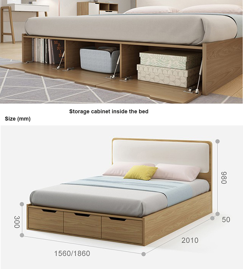 Wooden high quality soft bed bedroom furniture storage box double bed