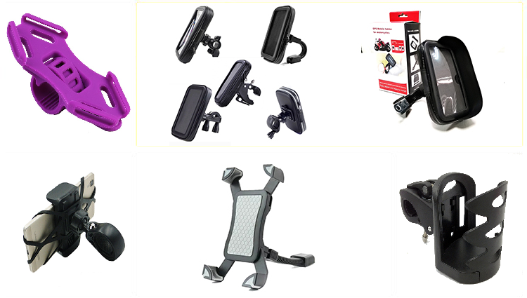 Amazon hot selling Aluminum Alloy Motorcycle Mobile Phone Mount Holder 360 Angle Adjustable Bike Cellphone Holder for Motorcycle