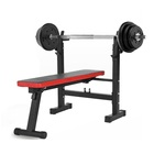 Flat Bench Press Barbell And Weights Fixed Gym Flat Multi Bench Press Set Barbell Multifunction Weight Bench