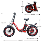 Electric Electric Bike 750w Folding Step Through Electric Bicycle 20 Inch Fat Tire 750w EBike 1000W 48V Electric Bike 7 Speeds