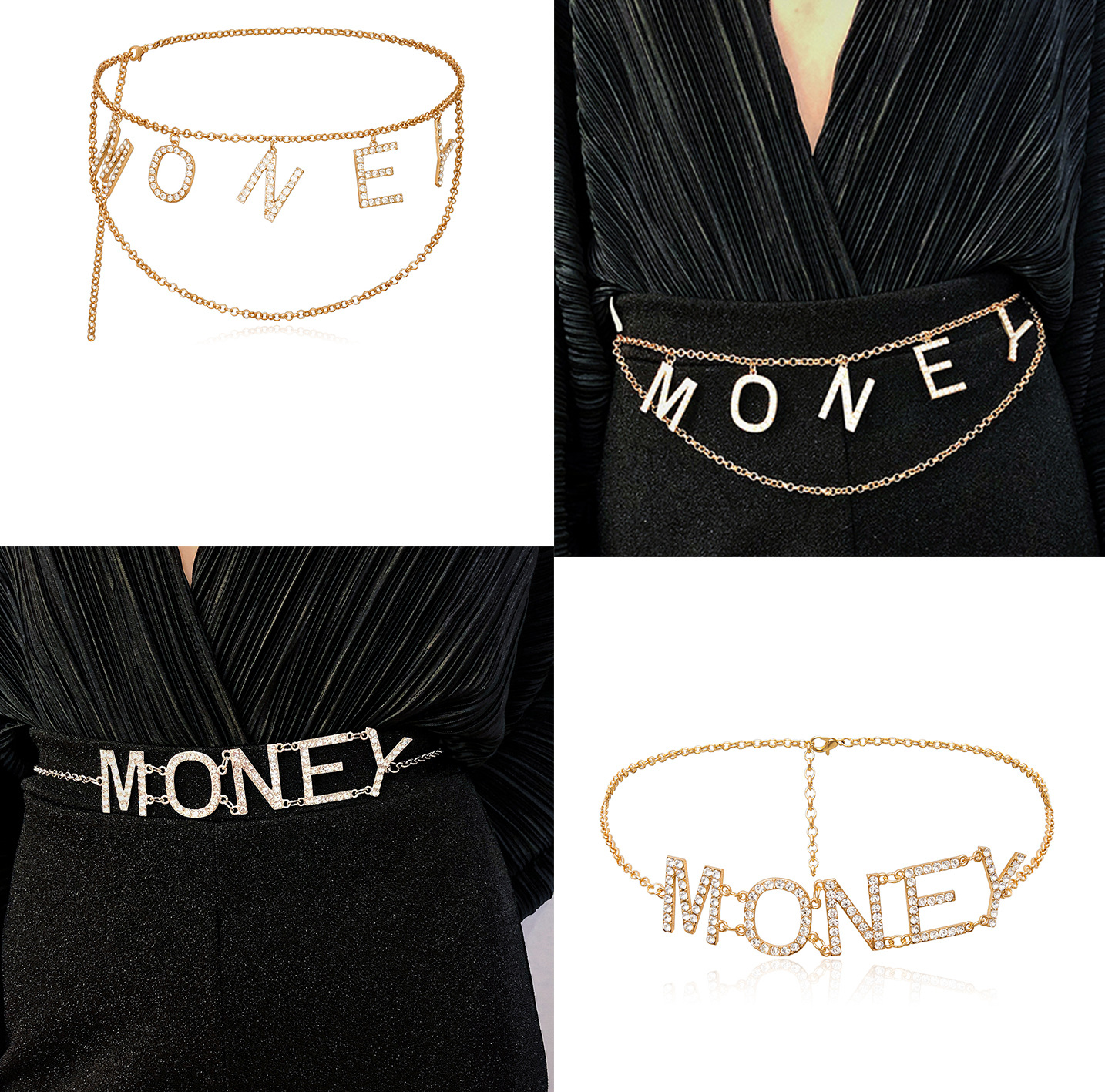 Fashion Statement Women Simple Design Multilayer Body Chain Jewelry Zircon Letter Belly Waist Chain For Ladies