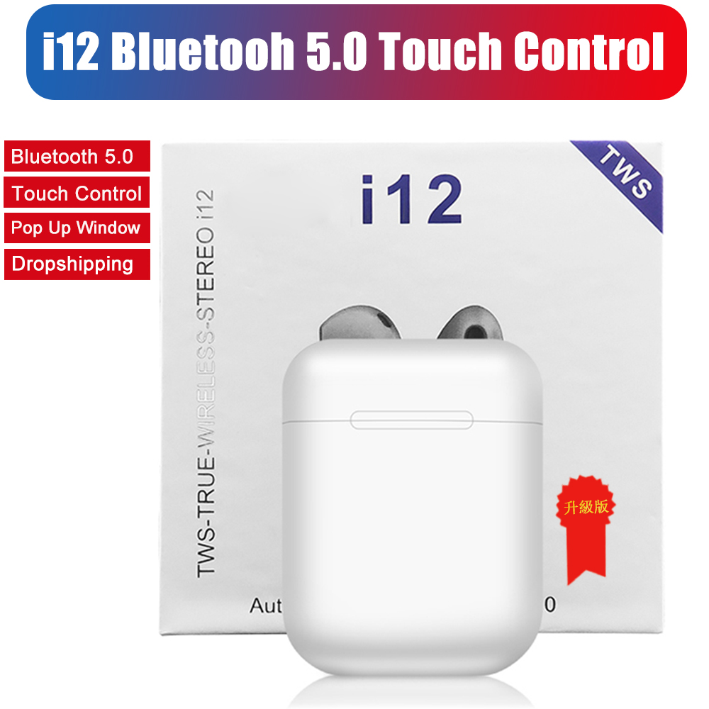 i12 TWS Wireless Bluetooth 5.0 Earphone Sports Sweatproof Headphone Touch Portable Earbuds