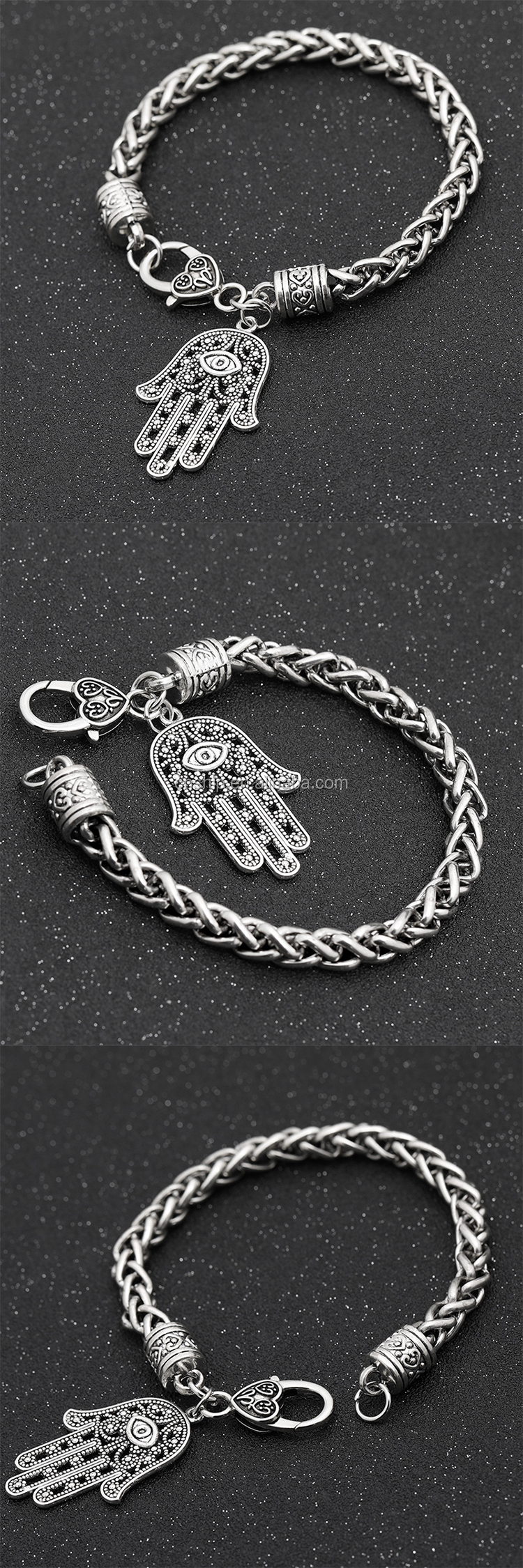 Promotional sliver metal bracelet with pendant