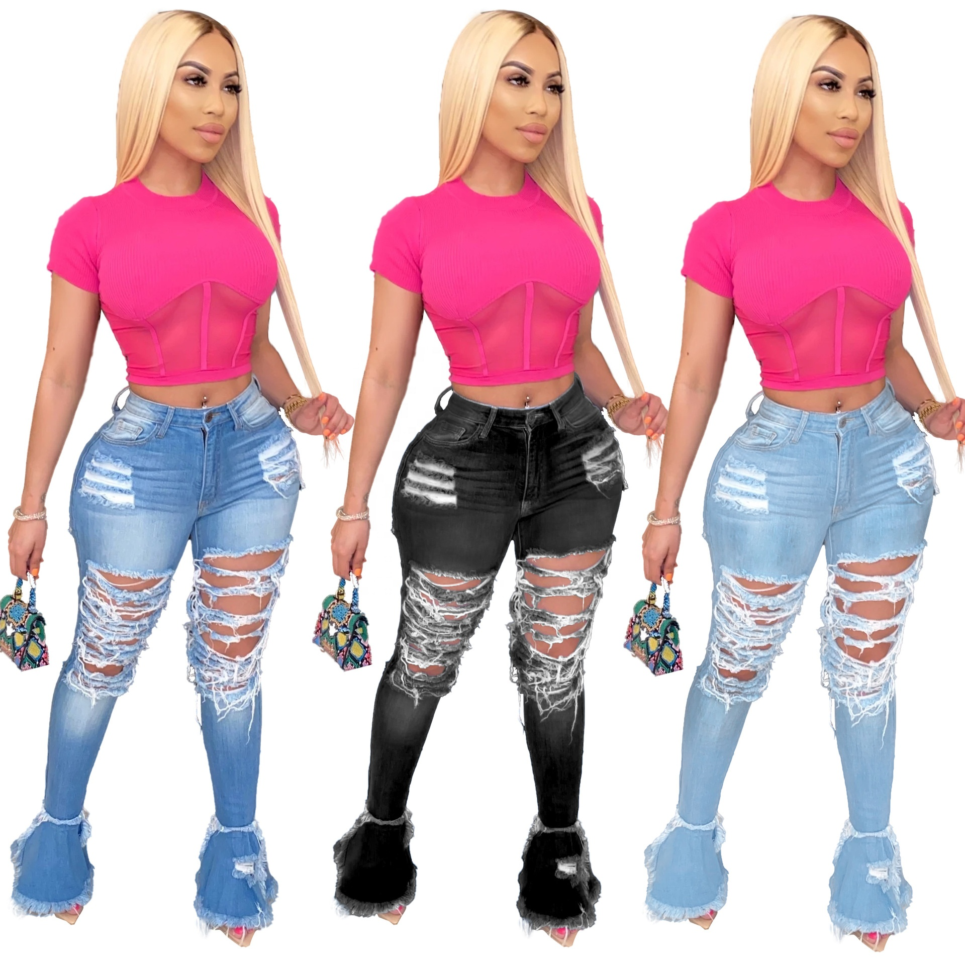 2020 New Design Wholesale Women Denim Stacked Jeans Casual Flare Jeans XXL Pants