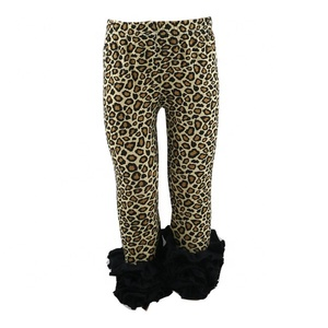 Wholesale girls ruffle leggings leopard print triple icing children fall and winter pants