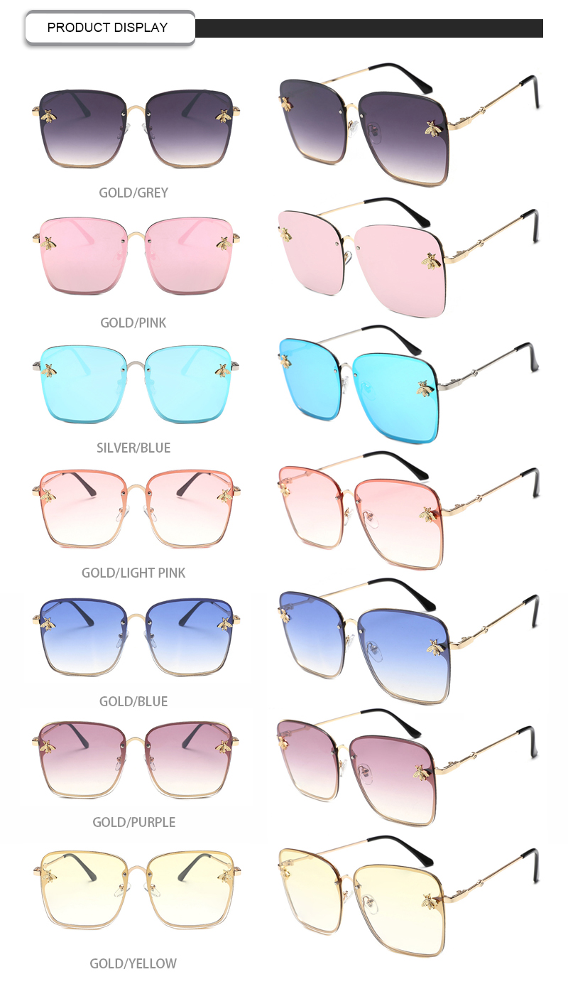 High Quality  Private Label Little bee Photochromic Square Women Sunglasses
